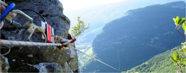 Tyrolienne Pierrot Rias - Vercors 2008 - Vue du départ